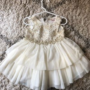 White Gold Lace Sequin Baby Girl Dress